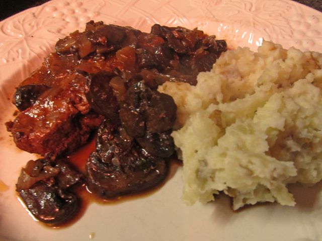 Red Wine Braised Pork Chops with Mushrooms and Shallots