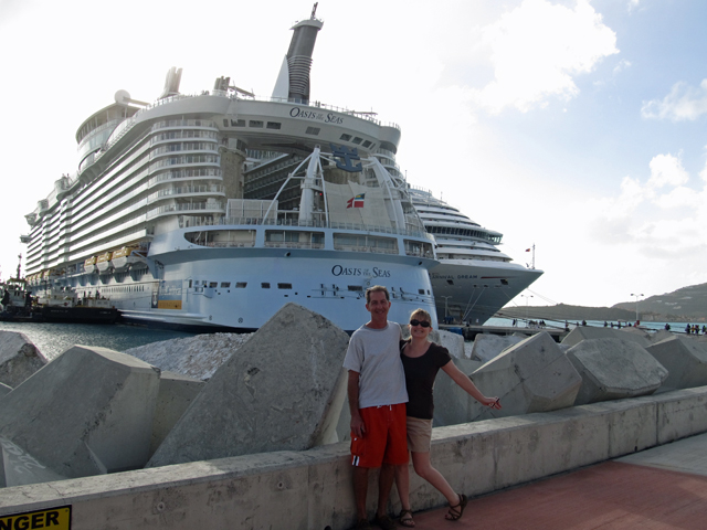 posing in front of the big boat